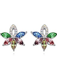 Full Crystal Zircon Earrings Stud Earrings for Women Tree Shape Earrings Fashion Jewelry Accessories