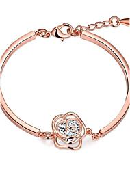 Fashion Sweet Women's Flower Zircon Gold Plated Brass Chain & Link Bracelet(Rose Gold,Golden)(1Pc)