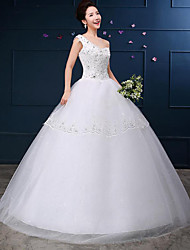 A-line Wedding Dress - White Floor-length One Shoulder Lace / Satin