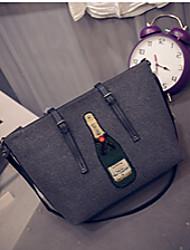 Women PU Weekend Bag Shoulder Bag-Dark Gray / Light Gray