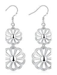Hollow Double Flower Dangle Earrings Ladies Silver Plated Drop Earring(Color:Silver)