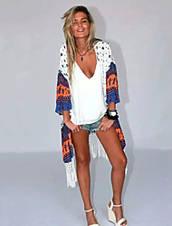 Women's Beach Vintage All Seasons Wrap,Print Asymmetrical Long Sleeve Multi-color Polyester Thin