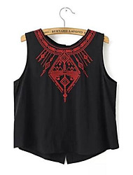 Women's Casual/Daily Cute Spring Tanks,Embroidered Round Neck Sleeveless Red / White Polyester Medium