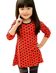 Girl's Blue / Red Dress Cotton Spring / Fall