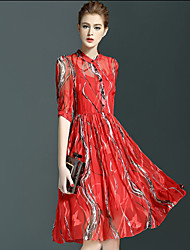 Women's Casual/Daily Street chic Chiffon Dress,Floral Stand Knee-length ½ Length Sleeve Red Others Summer