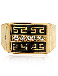 Retro Men Jewelry Great Wall Pattern Hollow Engraving High-end Gold Plated Copper Men's Rings with Diamonds