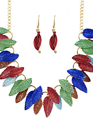 Colorful Enamel Leaf Jewelry Sets