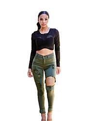 Women's Slim hole denim skinny strech jeans