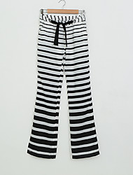 Women's Striped Multi-color Wide Leg Pants,Holiday / Beach