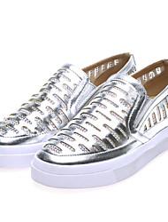Women's Shoes Leatherette Flat Heel Comfort Slip-on Office & Career / Dress / Casual Silver / Burgundy