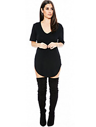 Women's Fashion Short Sleeve V Neck Long Asymmetrical T Shirt Mini Dress