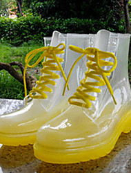 Women's Shoes Transparent Latex Chunky Heel Rain Boots  Waterproof Shoes Rubber Shoes /  Athletic/ Casual