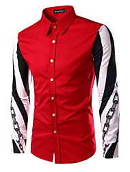 Men's Print Casual Shirt,Cotton Long Sleeve Black / Red / White