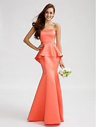 Lanting Bride® Floor-length Satin Bridesmaid Dress - Trumpet / Mermaid Strapless with Sash / Ribbon