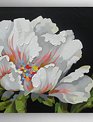 Oil Painting White Flowers by Knife Hand Painted Canvas with Stretched Framed