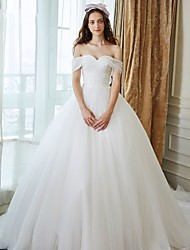 Ball Gown Wedding Dress Chapel Train Off-the-shoulder Tulle with Criss-Cross / Pearl