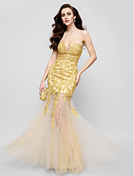 TS Couture® Formal Evening Dress - Gold Fit & Flare Strapless Floor-length Lace / Tulle