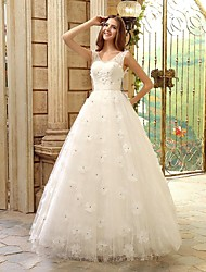 A-line Wedding Dress Floor-length V-neck Tulle with Appliques