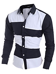 Hot Sale Men's casual long-sleeved shirt Slim spell color shirt Cotton / Polyester Casual / Work / Sport Color Block