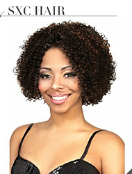 8'' Natural Color Short Kinky Curly Brazilian Virgin Human Hair Wigs For Black Women Glueless Cap With Adjustable Strap
