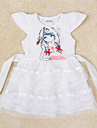 Girl's Dress Baby Girls Short Sleeve Clothes Lace Skirt Children Dresses(Random Printed)