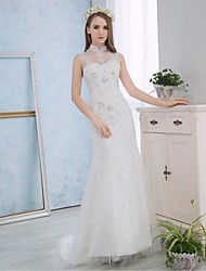 Trumpet / Mermaid Wedding Dress Court Train High Neck Lace / Satin with Appliques / Lace
