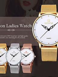 relojes de cuarzo banda de malla de oro esfera blanca de las mujeres skone®