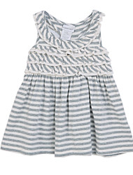 Girl's Gray Dress,Stripes Cotton Summer