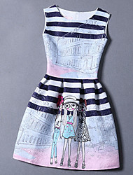 Summer 2016 Women Jacquard Printing Fashion Dress