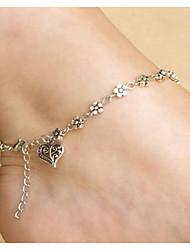 rétro argent en forme de coeur en alliage anklet quotidien / occasionnel bijoux 1pc