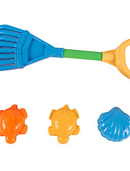 4-Pieces Beach Sand Toys Set with Sand Rake and 3 Models