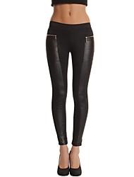 Women's Patchwork Black  Nine Points Zipper leggings Pants , Work / Casual / Day