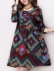 Women's Vintage / Casual / Day Print Ethnic Print Literature and Art LooseThin High Waist Dress (Cotton / Linen)