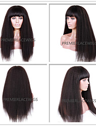 2016 Hot New Hot Kinky Straight With Bang 6-26 Inches 8A Brazilian Virgin Human Hair Full Lace Front Wigs