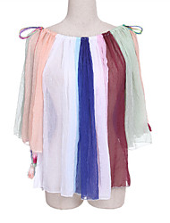 Women's Going out Street chic Spring Wrap,Color Block Round Neck ¾ Sleeve Multi-color Cotton Thin
