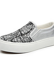 Women's Shoes Canvas Platform/ Creepers / Comfort / Round Toe Loafers / Slip-on Outdoor / Casual Black / Silver