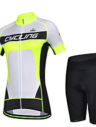 CHEJI Summer Women's Breathable Short Sleeve Bicycle Cycling Jersey 3D Pad Pant
