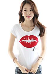 Summer New Women's Beaded Lip Printing  Slim T-Shirt