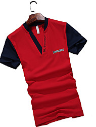 Men's Short Sleeve Polo , Cotton Casual / Work / Formal Pure
