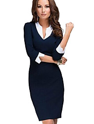 Women's Solid Blue Dress, Sheath/Vintage/Work Asymmetrical Collar ¾ Sleeve