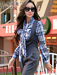 Women's Plaid Blue Shirt,Bow Long Sleeve
