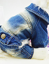 Dog Clothes/Jumpsuit Denim Jacket/Jeans Jacket Blue Dark Blue Dog Clothes Winter Spring/Fall Jeans Fashion Cowboy