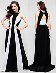 TS Couture Prom Formal Evening Dress - Color Block Sheath / Column Jewel Floor-length Chiffon with Pleats