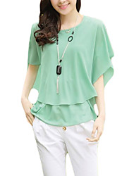 Hot Sale Women's Loose Solid Pink / White / Black / Green / Yellow Blouse,Round Neck ½ Length Sleeve Chiffon t shirt