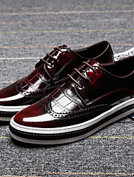 Men's Shoes Amir 2017 New Style Hot Sale Party/Office/Casual Black/Burgundy Patent Leather Leisure Oxfords