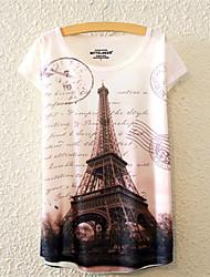Tee-shirt Aux femmes,Fleur Décontracté / Quotidien Mignon / Actif Toutes les Saisons Manches Courtes Col Arrondi Multi-couleur Coton Moyen