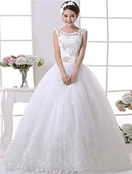 A-line Wedding Dress Floor-length Scoop Lace / Satin with Bow / Lace / Pattern