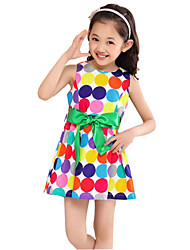 Girl's Black / White Dress,Dot Cotton Summer