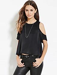 Damen Solide Street Schick Lässig/Alltäglich T-shirt,Rundhalsausschnitt Sommer Kurzarm Schwarz Polyester Dünn