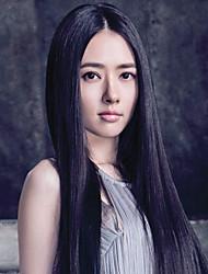 Long Length Black Color Straight Hair European Weave Wig